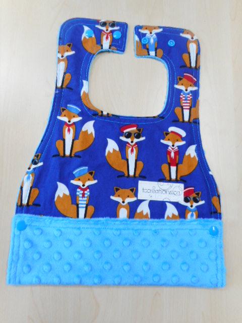 MBib--Fabulous Sailor Foxes on Azure minky