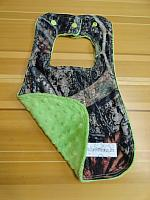 Bib--Tree Camo on Jade minky