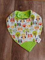 BTeether--Owls & Trees on Lime minky with Green corner