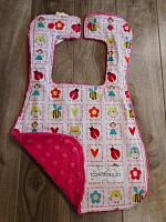 Bib--Alphabet Soup on Watermelon minky