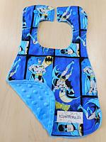 Bib--Batman on Azure minky
