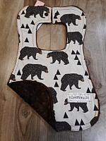 Bib--Bears on Brown minky