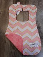 Bib--Blush Chic Chevrons on Coral minky