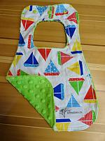 Bib--Sailboats on Lime minky