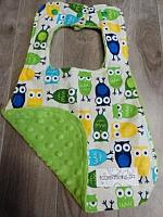 Bib--Boy Owls on Jade minky