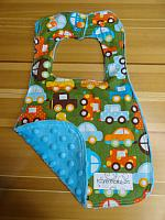 Bib--Cars on Turquoise minky