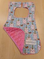 Bib--Caticorns on Paris Pink Minky
