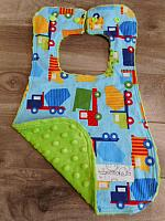 Bib--Dump Trucks on Lime minky