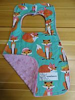 Bib--Fabulous Female Foxes on Dusty Rose minky