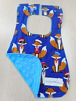 Bib--Fabulous Sailor Foxes on Azure minky