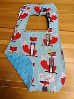 Bib--Fox and Houndstooth on Turquoise minky
