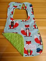 Bib--Fox and Houndstooth on Jade minky