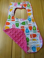 Bib--Girly Owls on Fushia minky
