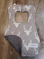 Bib--Grey Bucks on Grey minky