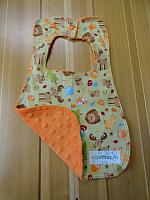 Bib--Happy Campers on Orange minky