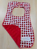 Bib--Ladybugs on Red minky