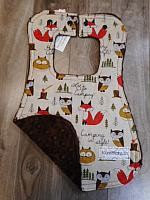 Bib--Let's Go Camping on Brown minky