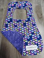 Bib--Love bugs on Purple minky
