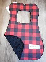 Bib--Lumberjack Red on Black minky
