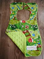 Bib--On the Farm on Lime minky