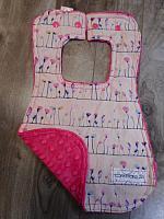 Bib--Petal Flamingoes on Fushia minky