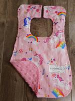 Bib--Pink Unicorns on Paris Pink minky