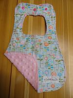 Bib--Happier on Pink minky