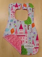 Bib--Princess Castles on Paris Pink minky