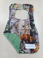 Bib--Real Tree Forest Animals on Olive minky