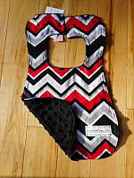 Bib--Red Black Chevrons on Black minky