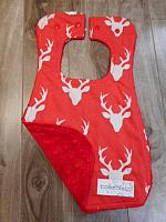 Bib--Red Bucks on Red minky