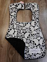 Bib--Glow Skulls on Black minky