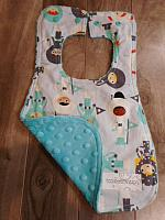 Bib--Space Kids on Breeze minky
