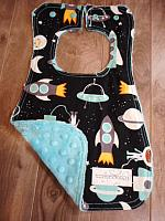 Bib--Space Explorers on Breeze minky
