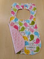 Bib--Spring Birds on Blush minky