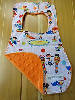Bib--Super Fun on Orange minky