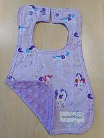 Bib--Lilac Unicorn Toss on Lilac minky