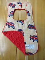 Bib--Vintage Fire Trucks on Red minky