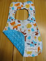 Bib--Wee Forest Critters on Turquoise minky