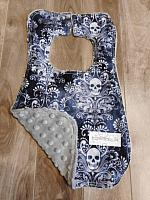 Bib--Wicked Damask Skull on Lt Grey minky