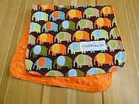Burpie--Marching Elephants on Orange minky