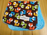Burpie--Foxes on Turquoise minky