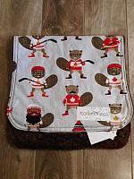 Burpie--Canadian Eh! Hockey Beavers on Brown minky