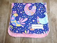 Burpie--Mod Birds on Paris Pink minky