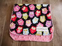 Burpie--Snooze Owls on Paris Pink minky