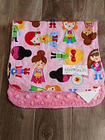 Burpie--Super Girls on Paris Pink minky