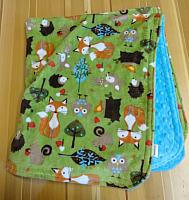 Car Blanket--Forest Life on Turquoise minky