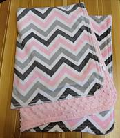 Car Blanket--Pink & Grey Chevrons on Blush minky