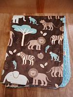 Car Blanket--Jungle on Topaz minky