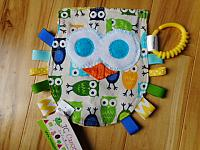 Crinkle--Owl Green/Blue owls
